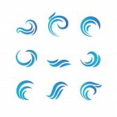 Wave Emblems. Ocean Water Abstract Vector Isolated Logos And Symbols. Illustration Of Surf Aqua Swir poster