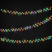 Color Light Garlands. Christmas Lights Holiday Decoration With Colourful Light Bulb. Realistic Light poster