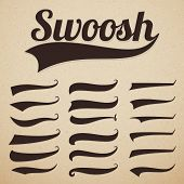 Retro Texting Tails. Swooshes Swishes, Swooshes And Swashes For Vintage Baseball Vector Typography.  poster