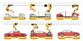 Car Factory. Robotic Automotive Assembly Line With Automobiles. Conveyor For Car Assembly Vector Man poster