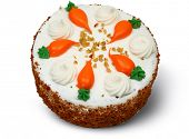 Whole carrot cake with clipping path over white.