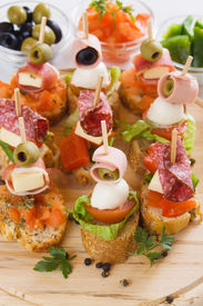 stock photo of buffet catering  - Bruschetta - JPG