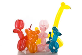image of parti poodle  - Simple balloon animals on white - JPG