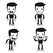 hombre de ayudante de divertidos dibujos animados