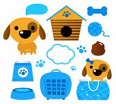 Dog Accessories Set Isolated On White ( Blue )
