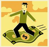 Man Riding A Dollar Bill As A Magic Carpet