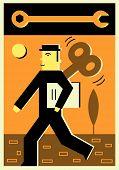 Illustration Of A Wind Up Businessman