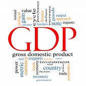 pic of gross  - GDP Word Cloud Concept with great terms such as value gross domestic product economics output metric and more - JPG