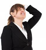 Stressed Businesswoman On White