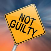 stock photo of gullible  - Illustration depicting a roadsign with a not guilty concept - JPG
