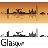 Glasgow skyline in orange background