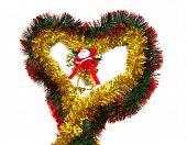 Tinsel Heart And Santa Figurine