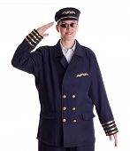 picture of stewardship  - Female pilot saluting and looking forward for the next flight - JPG