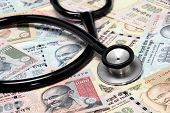 Stethoscope On Indian Rupee Notes