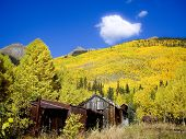 foto of colorado high country  - Old Silver Mining Cabins in Fall color Colorado USA - JPG