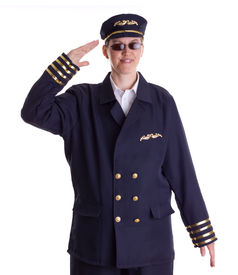 image of stewardship  - Female pilot saluting and looking forward for the next flight - JPG