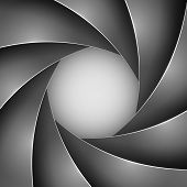 Abstract black photo shutter aperture vector background with copy space.