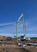Pouring concrete on construction site
