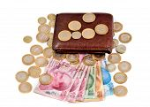Turkish lira banknotes and coins isolated