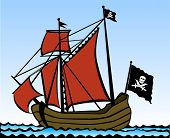 Two masted pirate ship. Vector illustration