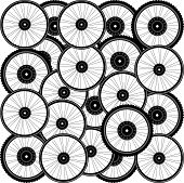 Bicycle Background From Many Bike Wheels