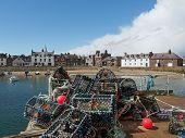 pic of lobster boat  - Lobster pot in Montrose harbor Scotland may 2013 - JPG
