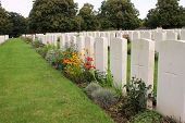 Graves of unidentified soldiers in Loos British Cemetery