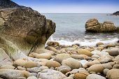 Beautiful landscape of Porth Nanven beach
