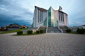 ZAPRESIC, CROATIA - MAY 21: Modern new Zapresic church exterior on May 21, 2013 in Zapresic, Croatia. The church was built for 20 years and was consecrated on May 26.