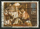 UK - CIRCA 1985: A stamp printed in UK shows image of the King Arthur and Merlin, Arthurian Legends, circa 1985.