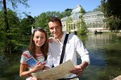 Tourists in Madrid Retiro Park by the Palacio de Cristal