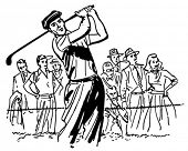 Golfista profesional - Retro Clip Art Illustration