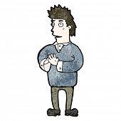 homem dos desenhos animados, pressionando as pontas dos dedos juntos