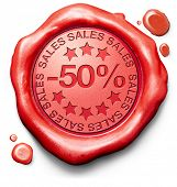 50% off sales summer or winter reduction extra low price buy for bargain limited offer icon red wax seal stamp