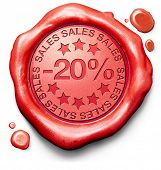 20% off sales summer or winter reduction extra low price buy for bargain limited offer icon red wax seal stamp