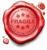 fragile breakable handle with care careful handling delicate product red warning sign icon or stamp