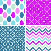 Set of blue and pink ikat geometric seamless patterns backgrounds