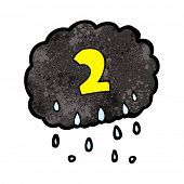 cartoon raincloud with number two