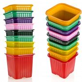tower stack of colorful  plastic pot for seedling  isolated on white background