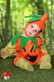 Baby In A Halloween Pumpkin Costume