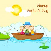 illustration of kids with father in boat doing fishing in Father's Day