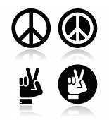 Peace, hand gesture vector icons set