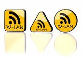 Illustration of a warning w-lan symbol on three warning signs