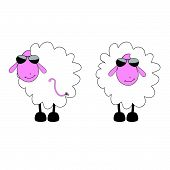 Sheep Cartoon With Sunglass Vector Illustration
