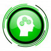 cabeza verde brillante icono de círculo