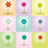 Abstract Flowers vector backgrounds