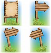Vários sinais de madeira. Ilustração vetorial.