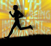Silhouette of a human jogging