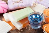 Body Care Accessories: Towels, Sea Salt, Soap, Pumice Stone And Wax For Hair Removal