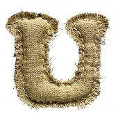Linen vintage cloth letter u isolated on white